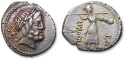 Ancient Coins - AR Denarius - in near mint state condition, beautiful toning - L. Procilius, Rome 80 B.C.