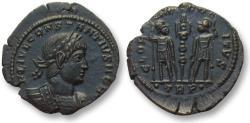 Ancient Coins - AE follis Constantius II as Caesar, Trier mint 334-337 A.D. -- mint state, beauty --