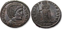Ancient Coins - AE 19mm silvered follis Helena Augusta, Treveri / Trier mint 327-328 A.D. - in near mint state, great dark toning on silvering-