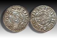 World Coins - Pointed Helmet type AR penny Cnut the Great - THETFORD mint 1024-1030 A.D. - moneyer EDPINEE