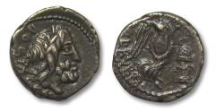 Ancient Coins - AR Quinarius, L. Rubrius Dossenus. Rome 87 B.C.
