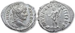 Ancient Coins - AR denarius, Caracalla. Rome 213 A.D. - P M TR P XVI COS IIII P P, Hercules standing left -