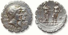 Ancient Coins - AR denarius Q. Fufius Calenus and P. Mucius Scaevola (Cordus), Rome 70 B.C.