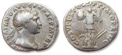 Ancient Coins - AR denarius Trajan / Trajanus, Rome mint AD 107-108 - trophy of Dacian arms -