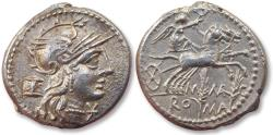Ancient Coins - AR Denarius, M. Marcius - high quality coin, great centering on both sides - Rome 134 B.C. - Biga & grain ears -