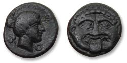 Ancient Coins - MACEDONIA, Pangaean District, 12mm AE unit. NEAPOLIS mint circa 424-350 B.C. - rare, especially this nice, Ex Numismatik Lanz -