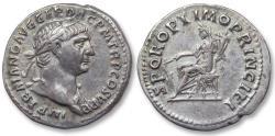 Ancient Coins - AR denarius Trajan / Trajanus, Rome 103-111 A.D. - SPQR OPTIMO PRINCIPI, Fortuna seated left