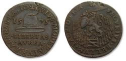 World Coins - Spanish Netherlands AE jeton Dordrecht mint 1575: peace talks at Breda broken off