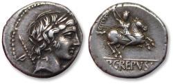 Ancient Coins - AR denarius P. Crepusius, Rome 82 B.C. - long control numeral CCCCXXVII -