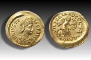 Ancient Coins - AV Semissis Justin I / Justinus I - superb quality coin - Constantinople mint 518-527 A.D. -