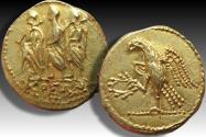 AV/AU gold stater, Thrace, Scythian Dynasts 50-25 B.C. Koson in alliance with Brutus - variety without BR monogram -