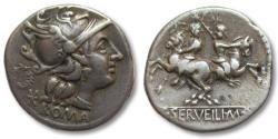 Ancient Coins - AR denarius C. Servilius M.f., Rome 136 B.C.