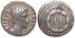 Ancient Coins - AR denarius Octavian as Augustus, Colonia Patricia 19-18 B.C.