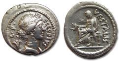 Ancient Coins - AR denarius C. Clodius Vestalis, Rome 43 B.C.