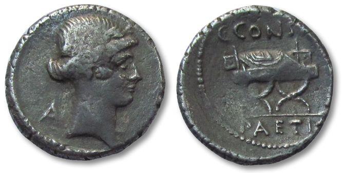 Ancient Coins - HS: AR denarius C. Considius Paetus, Rome 46 B.C.
