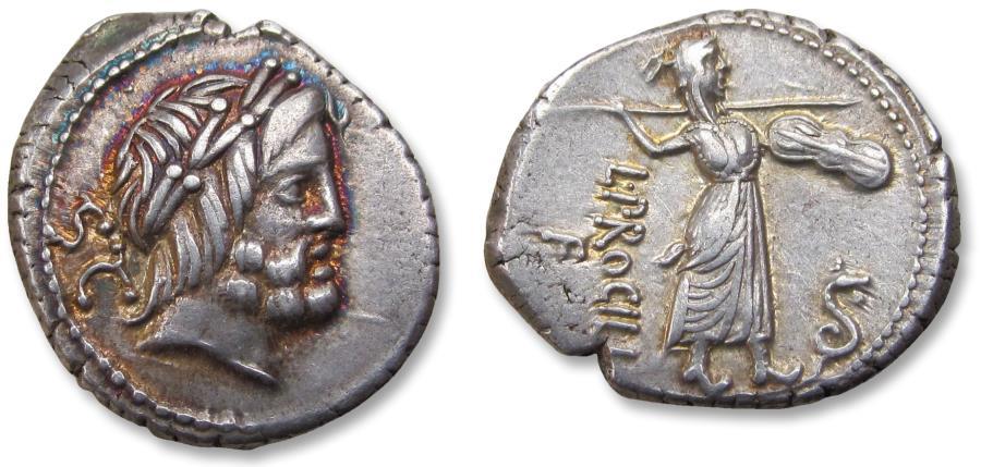 Ancient Coins - AR Denarius - in near mint state condition, beautiful toning - L. Procilius, Rome 80 B.C.