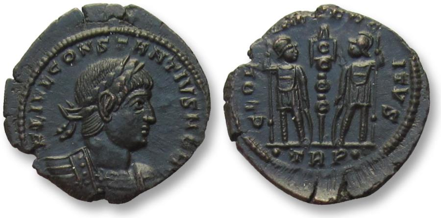 Ancient Coins - AE follis Constantius II as Caesar, Trier mint 334-337 A.D. -- mint state, beauty --
