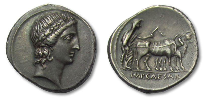 Ancient Coins - AR denarius Octavian / Octavianus, Italian mint (Rome ?) 30-27 B.C. -- stunning coin !! --