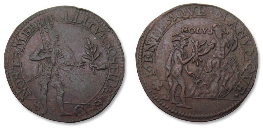 World Coins - Spanish Netherlands AE jeton Dordrecht mint 1607: suspicion against peace with Spain