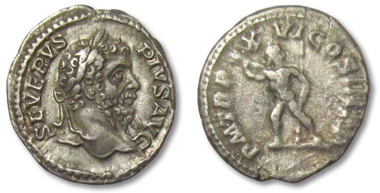 Ancient Coins - AR denarius Septimius Severus, Rome 202-210 A.D. --Jupiter--