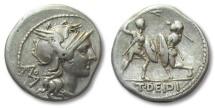 AR denarius T. Deidius / Didius, Rome 113-112 B.C. -- gladiatorial scene--