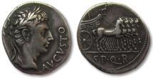 Ancient Coins - AR denarius Augustus, Colonia Patricia 18-16 B.C. -- slow quadriga right --