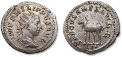 Ancient Coins - AR antoninianus, Philip II, son of Philip I, as co-emperor, Rome mint 248 A.D. - celebrating 1000 years Rome, elk or goat left -