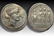 Ancient Coins - AR denarius M. Junius (Q. Servilius Caepio) Brutus, Rome 54 B.C. - beautifully centered & toned -