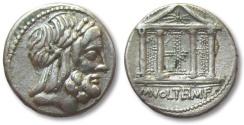Ancient Coins - AR denarius M. Volteius, Rome 78 B.C. -- light weight, possible fourree? -