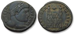 Ancient Coins - AE follis Constantine I, Trier mint 324-325 A.D. -- PTR, 6 tiered campgate --