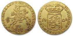 """Ancient Coins - AV/AU Dutch 14 gulden / guilder """"gold rider"""" (gouden rijder), Holland 1763"""