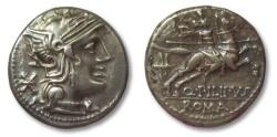 Ancient Coins - AR denarius Q. Marcius Philippus, Rome 129 B.C.
