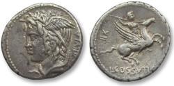 Ancient Coins - AR denarius L. Cossutius C.f. Sabula, Rome 74 B.C.