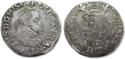 World Coins - Spanish Netherlands AR 1/5 Ecu/Philipstaler/Filipsdaalder Philip II of Spain, Brabant, Antwerp mint 1572