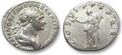 Ancient Coins - AR denarius Trajan / Trajanus, Rome 114-117 A.D. -- Felicitas standing left --