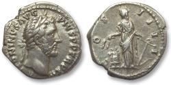 Ancient Coins - AR denarius Antoninus Pius, Rome 144-148 A.D. -- Annona standing left --
