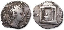Ancient Coins - AR denarius Augustus, Colonia Patricia mint (?) circa 19 B.C. - temple of Mars Ultor -