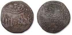 World Coins - Spanish Netherlands AE jeton Hainaut (?) mint 1585: on the surrender of Antwerp to Alexander Farnese