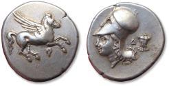 Ancient Coins - AR stater Corinthia, Corinth 375-300 B.C. -- miniature cuirass --