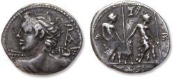 Ancient Coins - AR Denarius, L. Caesius, Rome 112-111 B.C.