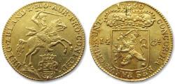 """Ancient Coins - AV/AU Dutch 14 gulden / guilder """"gold rider"""" (gouden rijder), Zeeland 1760"""