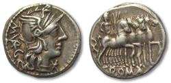 Ancient Coins - AR Denarius, M. Vargunteius. Rome 130 B.C. - beautiful toning -