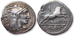 Ancient Coins - AR denarius L. Thorius Balbus, Rome 105 B.C. - control letter I on reverse -
