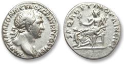 Ancient Coins - AR denarius Trajan / Trajanus, Rome 103 A.D. -- Pax seated left, kneeling Dacian before --