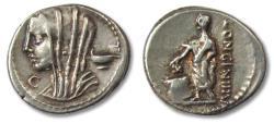 Ancient Coins - AR denarius L. Cassius Longinus, Rome 63 B.C. -- control letter C --