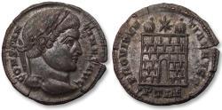 Ancient Coins - AE follis Constantine I, Trier / Treveri mint 327-328 A.D. - PTRE, 6 tiered campgate, near mintstate -