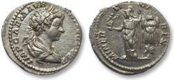 Ancient Coins - AR denarius Caracalla as caesar, Rome 198 A.D. -- Minerva & trophy --