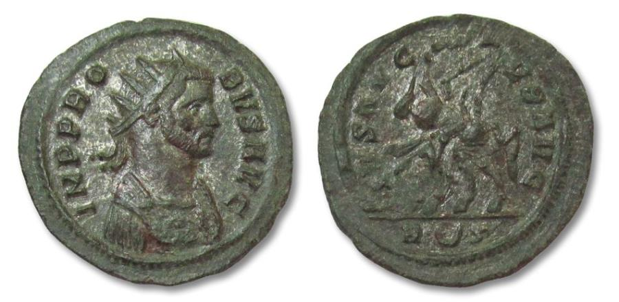 Ancient Coins - PROBUS, ROME mint 276-282 A.D. interesting double strike on reverse AE silvered antoninianus