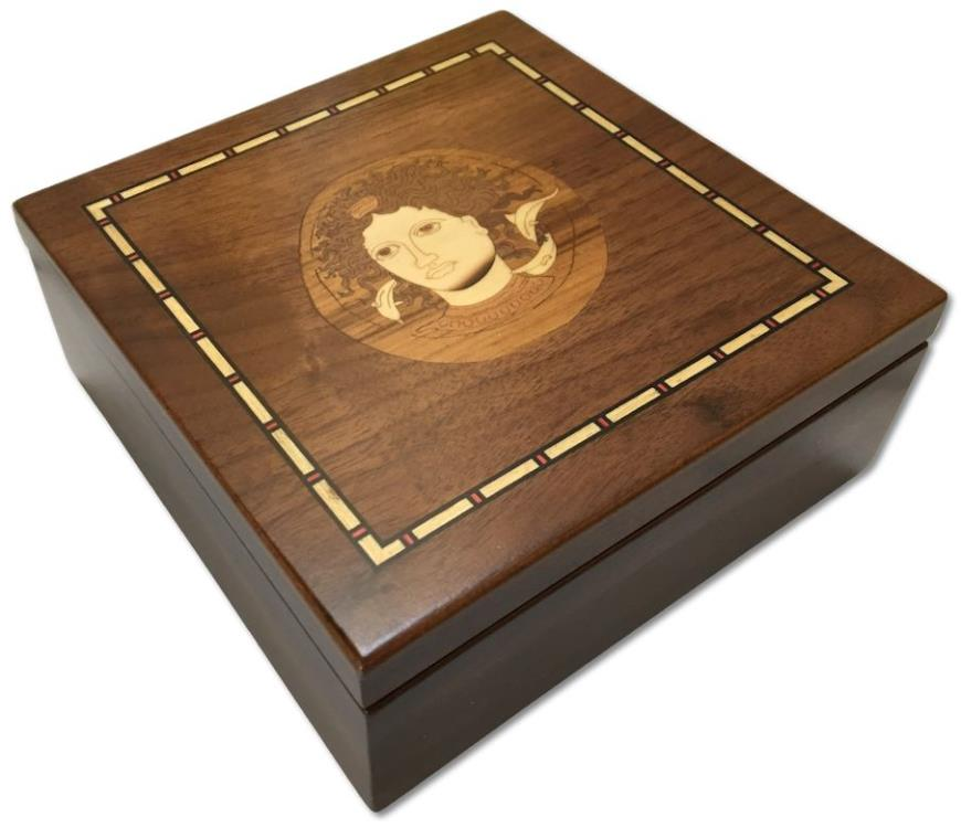 Ancient Coins - Walnut veneered coin case decorated with Syracusian nymph ARETHUSA - holds 30-150 coins (depending on tray choice)-