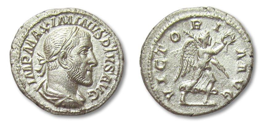 Ancient Coins - AR denarius Maximinus Thrax, Rome 235-238 A.D. -- Victory advancing right --